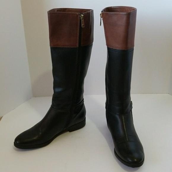 b402c9ac7e5c Tommy Hilfiger Black and Brown Riding Boots. M 5a5b854b05f4301ed50e08cd